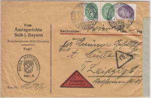 DR - 2x5+40 Pfg. Strohhut, Dienst-Nachnahmebrief Selb - Leipzig 1931