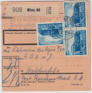 DR - 3x25 Pfg. Leipziger Messe, Paketkarte Wien 89 - Waldenfels 1942