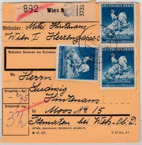 DR - 3x25 Pfg. Wiener Messe, Paketkarte Wien - Moos 1942