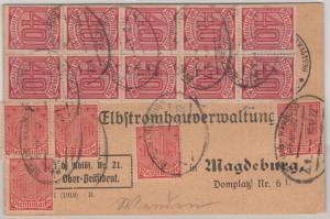 DR-Infla - 20x40 Pfg. Ziffer u.a., Dienstpostkarte Bahnpost Berlin-Hamburg, Z.1