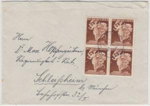 DR - 3 Pfg. Modestadt Wien, 4er-Block Brief Nürnberg - Schleissheim 1942
