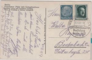 DR - 6 Pfg. AH ex Block u.a., Karte/Sondertarif n. TSCHECHIEN SST Berlin 1937