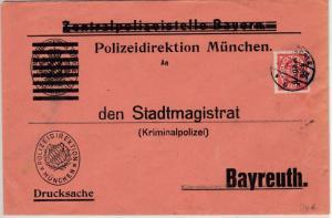 DR-Infla - 50 Pfg. By-Abschied/DR Dienstbrief Polizei München Bayreuth 1922
