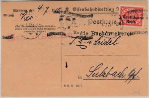DR-Infla - 50 Pfg. By-Abschied/DR Dienst Karte Eisenbahndirektion Nürnberg 1922