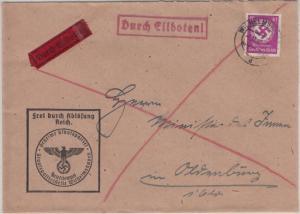 DR - 40 Pfg. Hkr. Frei d. Ablösung Eilbrief Gestapo Wilhelmshaven Oldenburg 1940