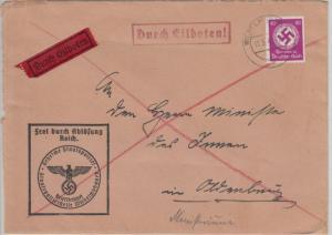 DR - 40 Pfg. Hkr. Frei d. Ablösung Eilbrief Gestapo Wilhelmshaven 1940 n.