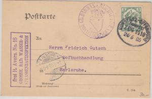DR - 5 Pfg. FdA 16 Dienstpostkarte Bahnpost Konstanz Offenburg Zug 1419 1905
