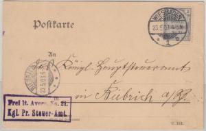 DR - 2 Pfg. FdA 21 Dienstpostkarte Nachbarortsverkehr Wiesbaden - Biebrich 1903