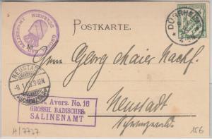 DR - 5 Pfg. FdA 16 Dienstpostkarte Dürrheim - Neustadt 1905