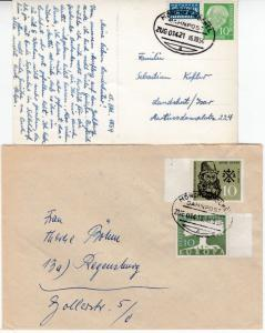 BRD - Bahnpost München-Kochel Zug 01421, 01413, 01400 - 2 Briefe/1 Karte 1954/59