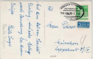 Bizone - München-Herrsching Bahnpost Zug 03470, Karte n. Andechs n. München 1950