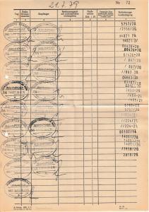 BRD - Nürnberg, DIN A4 Formular m. 17 (!) versch. Bahnpost/Überlandpost-Stpl.