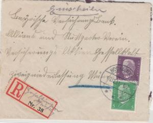 DR - Hochaltingen 1931, Einschreibebrief n. München, R-Zettel m. hds. Ortsangabe
