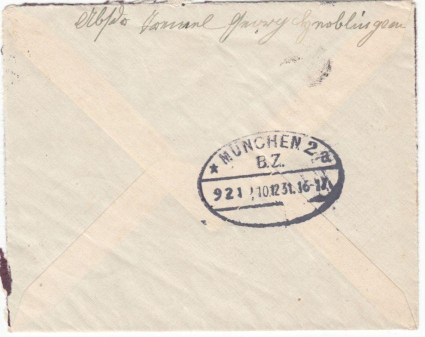 DR - Hochaltingen 1931, Einschreibebrief n. München, R-Zettel m. hds. Ortsangabe 1