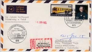 BRD - Nürnberg 1972, 50 J. Luftpost Zürich-Nbg., Sonder-R-Zettel/Lupo-R-Brief
