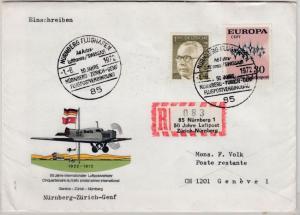 BRD - Nürnberg 50 J. Luftpost Zürich-Nbg. Sonder-R-Zettel/Lupo-R-Brief 1972
