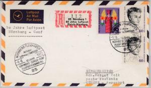 BRD - Nürnberg, 50 J. Luftpost Zürich-Nbg. 1972, Sonder-R-Zettel/Lupo-R-Brief