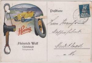 DR - Hering Kfz-Reifen, farb. illustr. Firmenkarte Giebelstadt - Marktbreit 1921