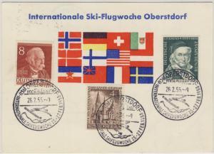 BRD - Oberstdorf Skiflugwoche Sonderkarte + SST Aufgabe Sonthofen 1955