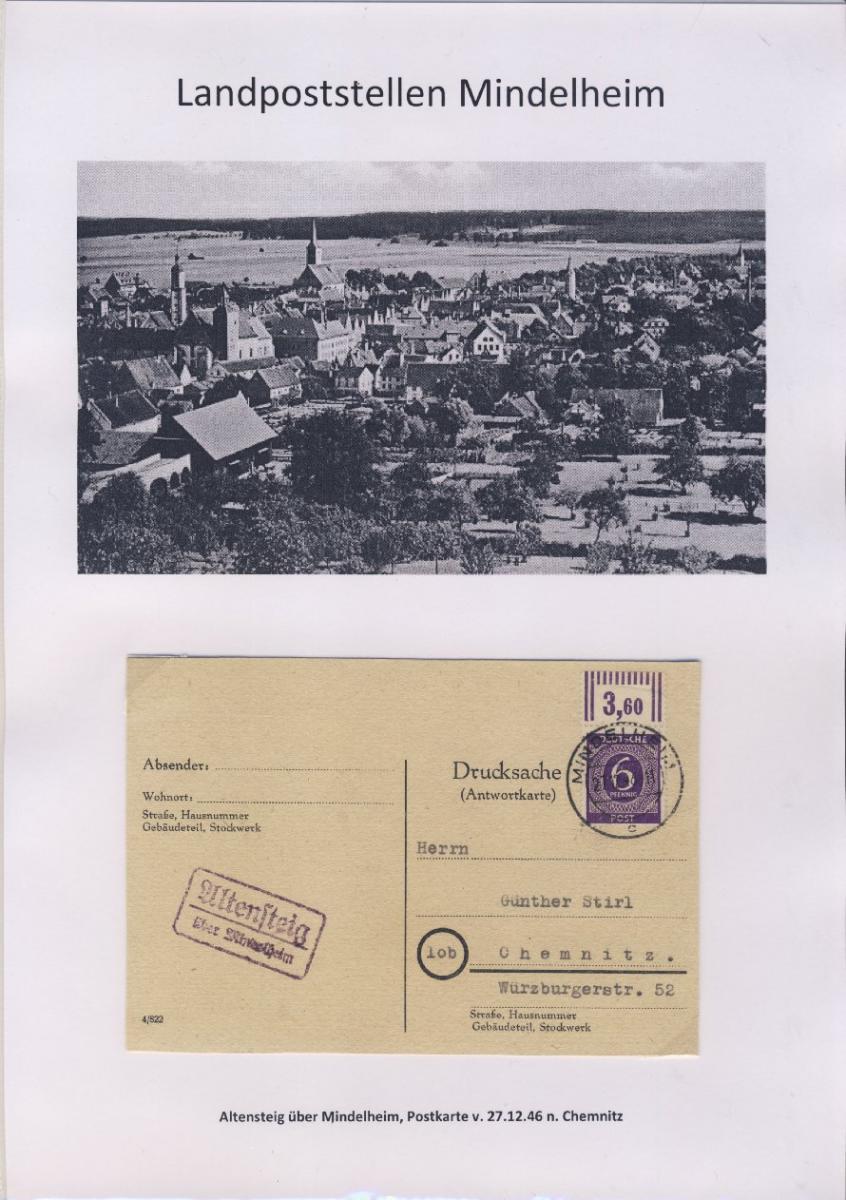 Mindelheim - Landpoststellen, Sammlung (36 versch. Belege) 0