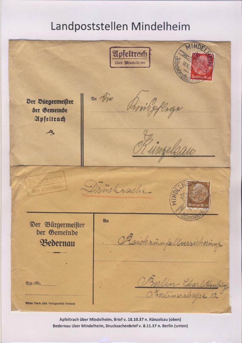Mindelheim - Landpoststellen, Sammlung (36 versch. Belege) 1