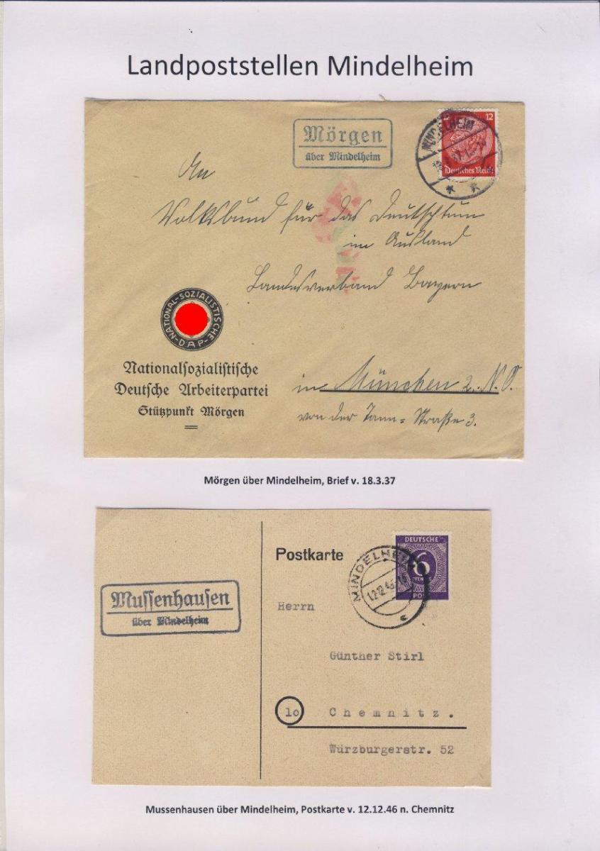Mindelheim - Landpoststellen, Sammlung (36 versch. Belege) 10