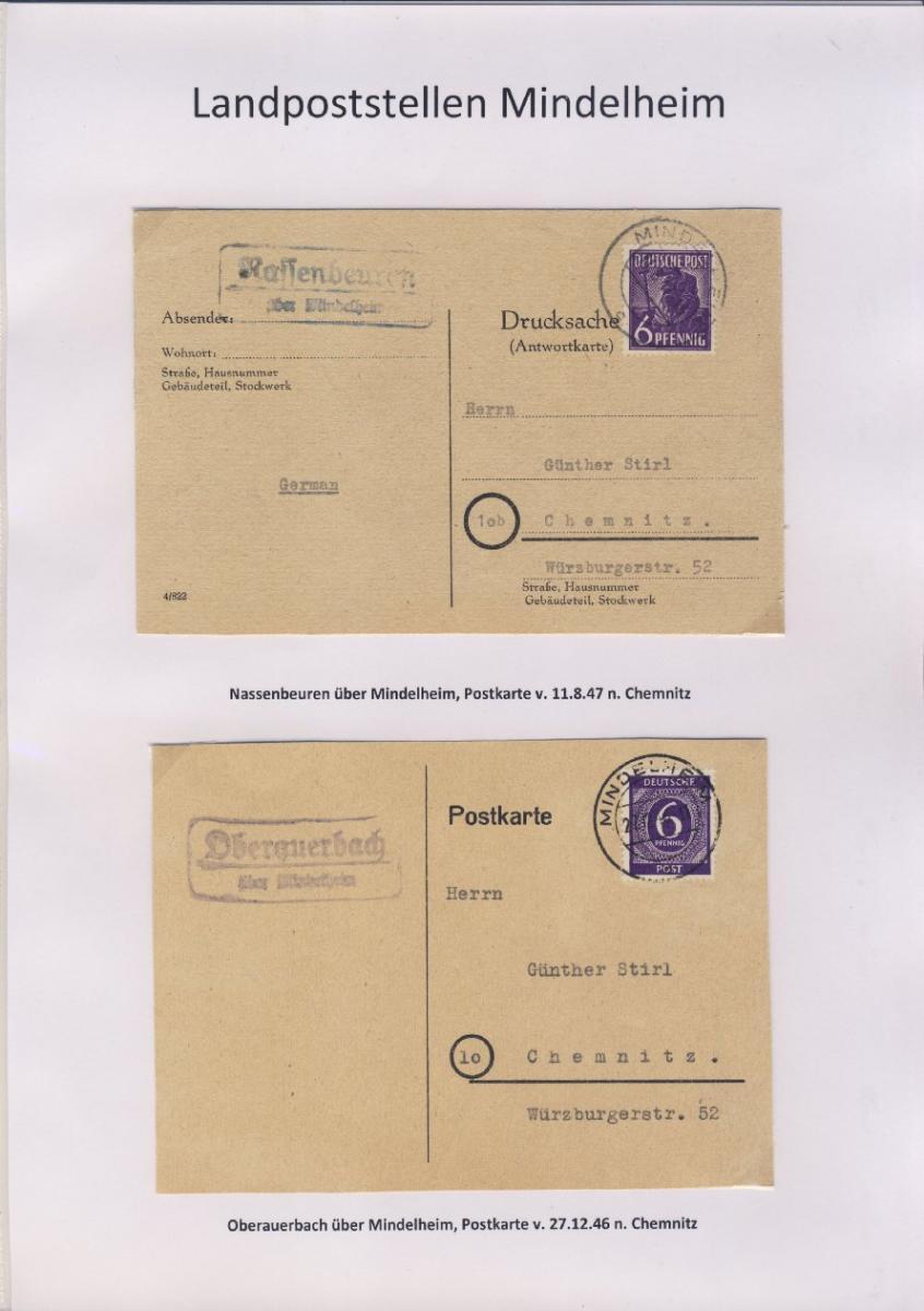 Mindelheim - Landpoststellen, Sammlung (36 versch. Belege) 11