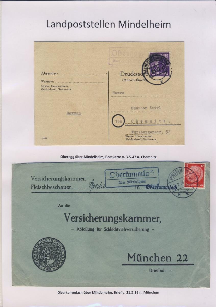 Mindelheim - Landpoststellen, Sammlung (36 versch. Belege) 12