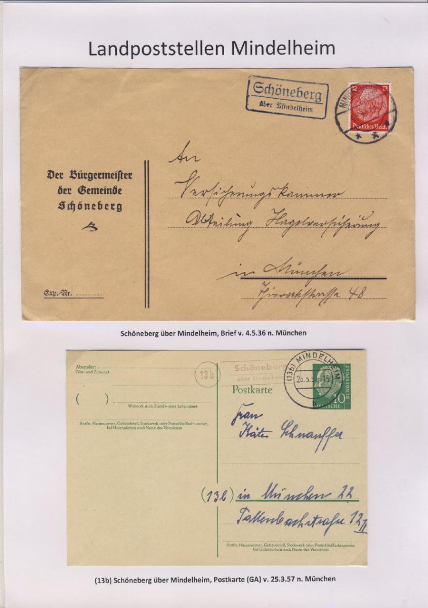 Mindelheim - Landpoststellen, Sammlung (36 versch. Belege) 14