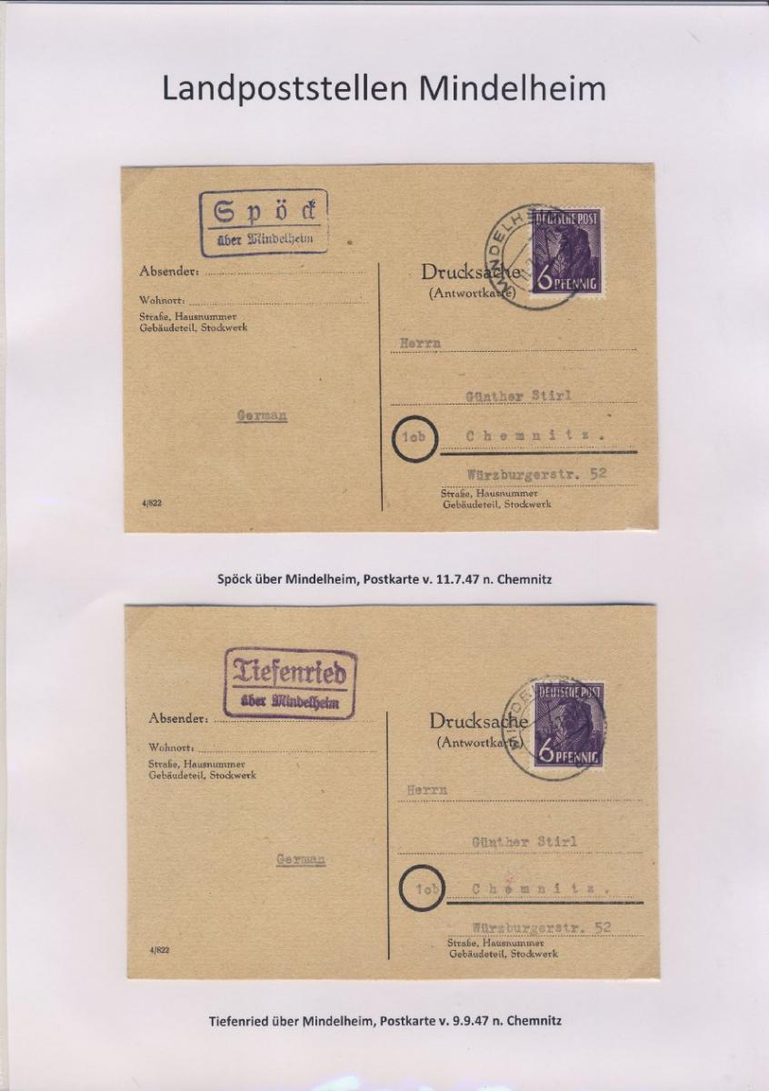 Mindelheim - Landpoststellen, Sammlung (36 versch. Belege) 15
