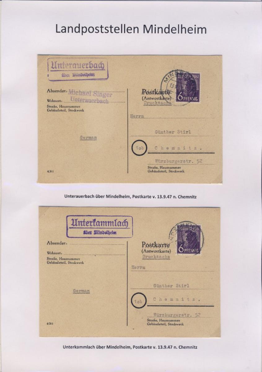 Mindelheim - Landpoststellen, Sammlung (36 versch. Belege) 16