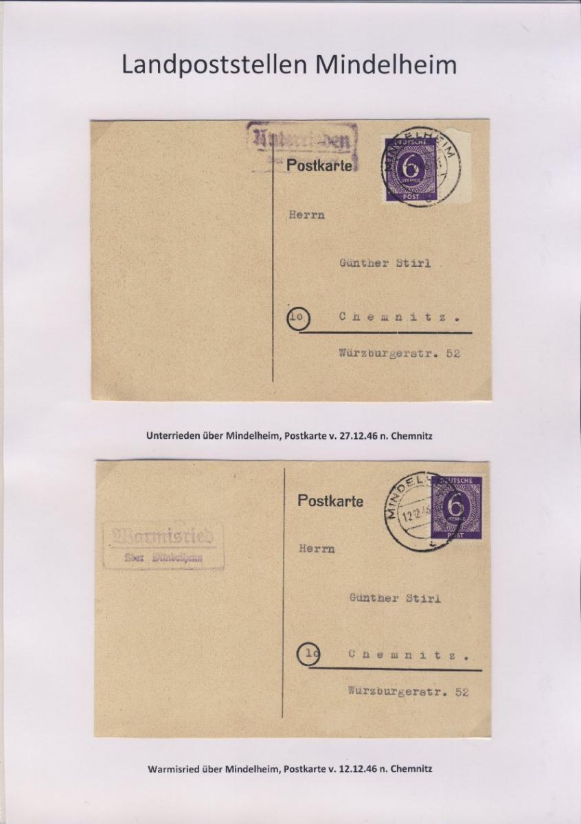 Mindelheim - Landpoststellen, Sammlung (36 versch. Belege) 17