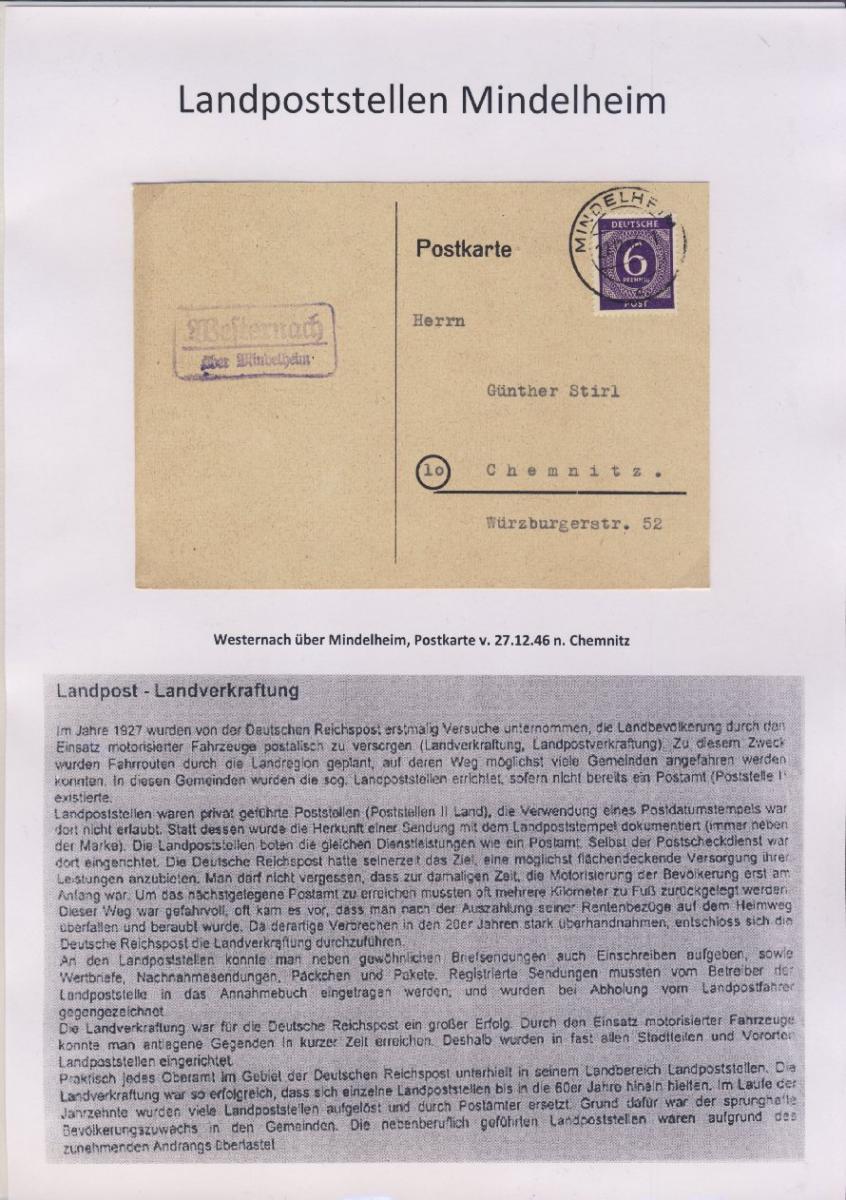 Mindelheim - Landpoststellen, Sammlung (36 versch. Belege) 18