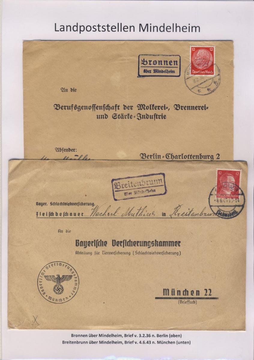 Mindelheim - Landpoststellen, Sammlung (36 versch. Belege) 2