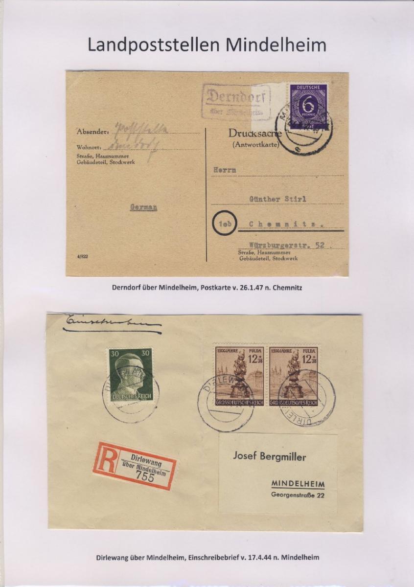 Mindelheim - Landpoststellen, Sammlung (36 versch. Belege) 3