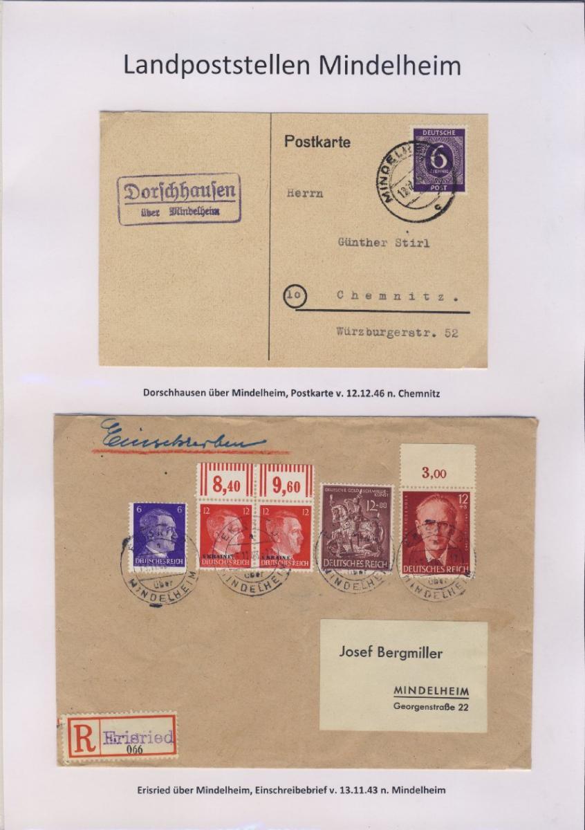 Mindelheim - Landpoststellen, Sammlung (36 versch. Belege) 4