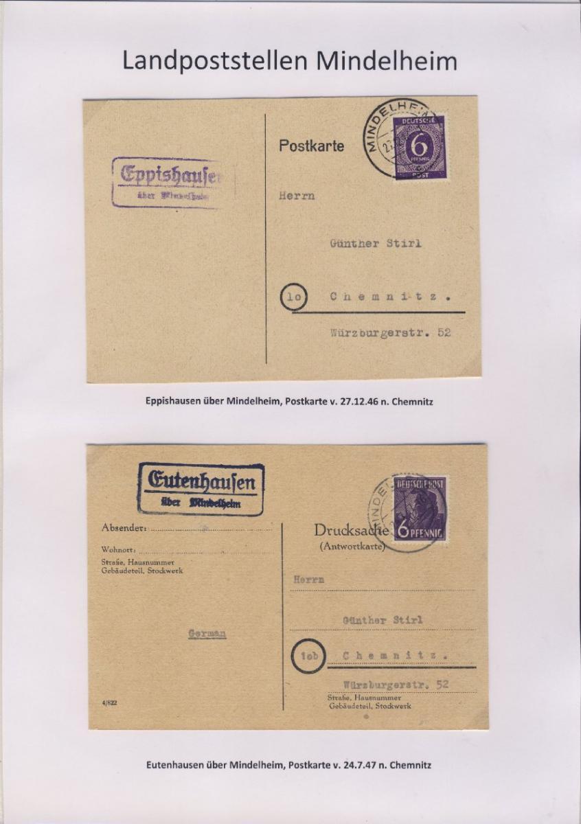 Mindelheim - Landpoststellen, Sammlung (36 versch. Belege) 5