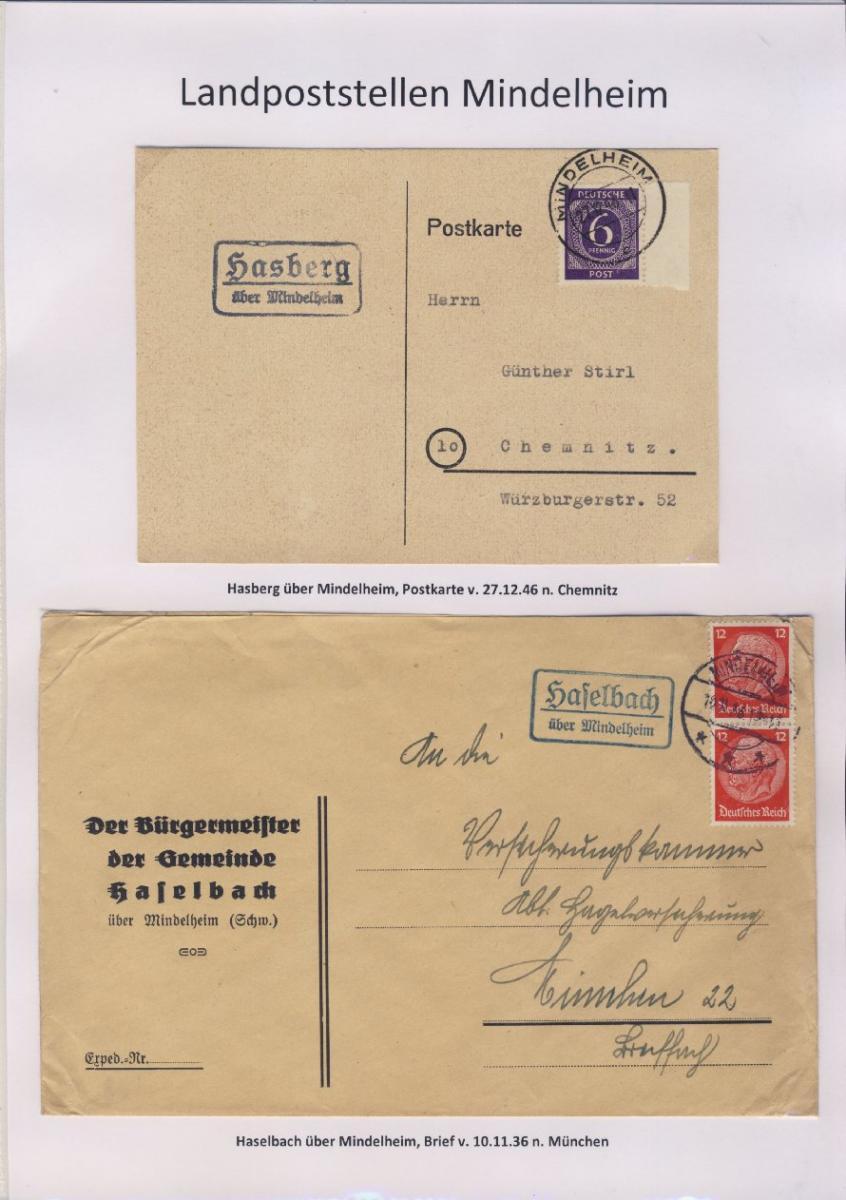 Mindelheim - Landpoststellen, Sammlung (36 versch. Belege) 6