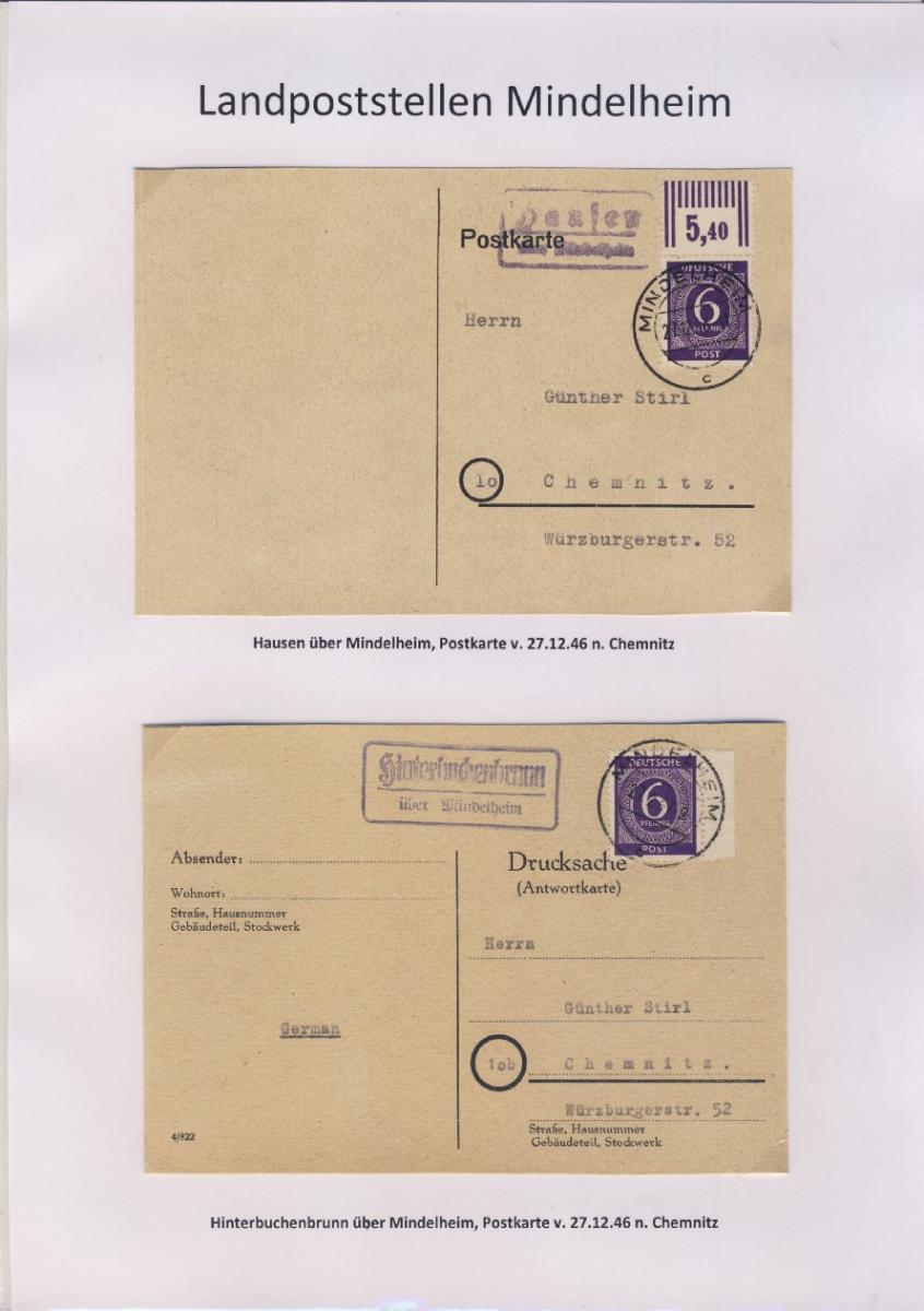 Mindelheim - Landpoststellen, Sammlung (36 versch. Belege) 7