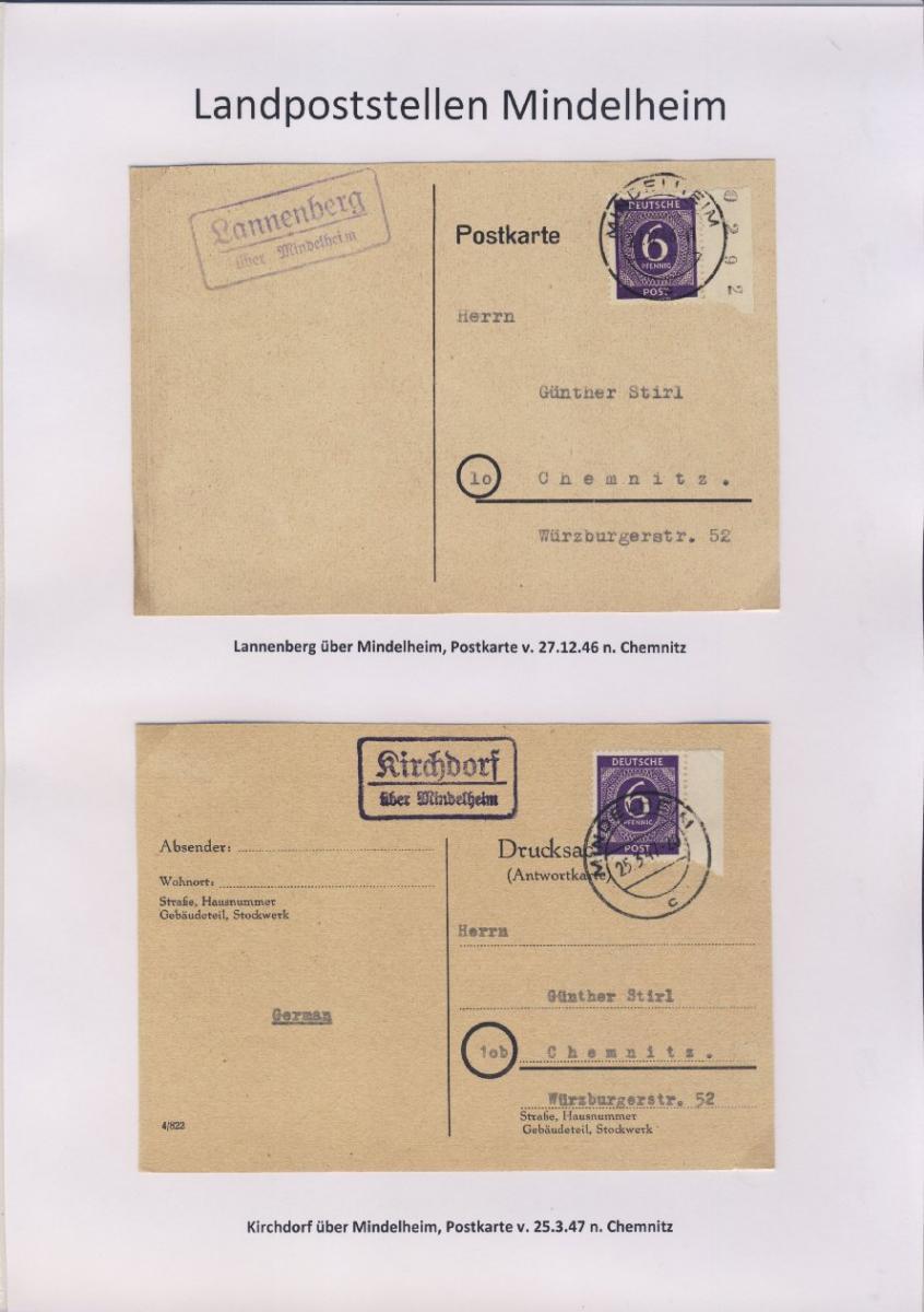 Mindelheim - Landpoststellen, Sammlung (36 versch. Belege) 8
