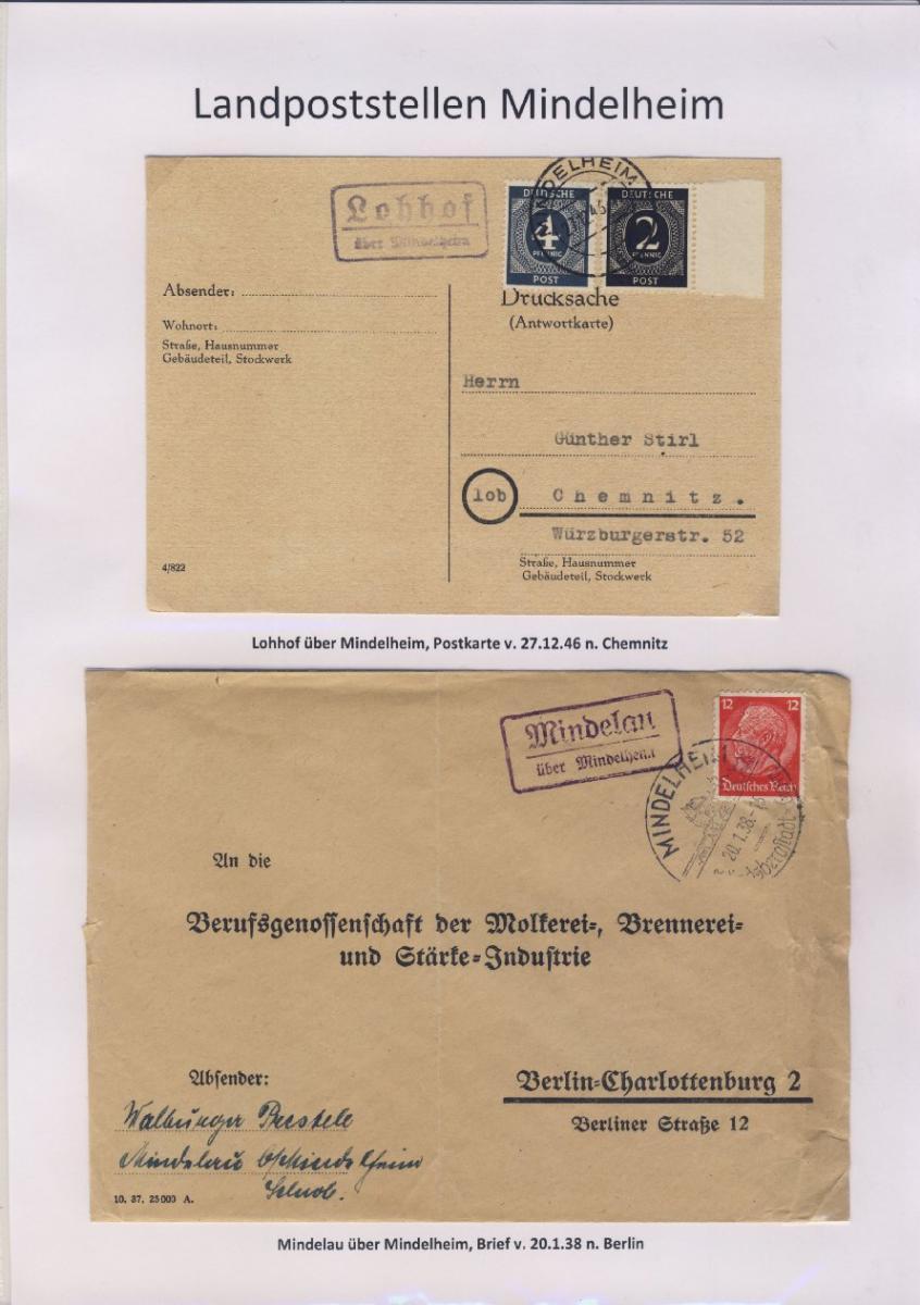 Mindelheim - Landpoststellen, Sammlung (36 versch. Belege) 9