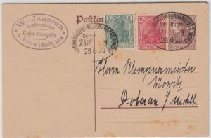 DR - Ludwigslust - Neubrandenbg., Bahnpost-Stpl. a. 15 Pfg. GA-Karte+Zusatz 1920