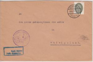 DR - 30 Pfg. Strohhut, Dienstbrief Schwerin - Ludwigslust 1928, ohne Inhalt
