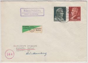 DDR - Neuheim ü. Jütergog, Landpost-Ra2 a. Brief n. Schwäb. Gmünd 1956
