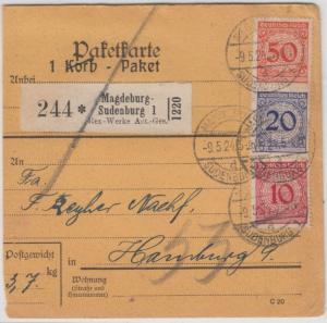 DR - 50+20+10 Pfg. Korbdeckel, Paketjkarte/Selbstbucher Magdeburg-Sudenburg 1924