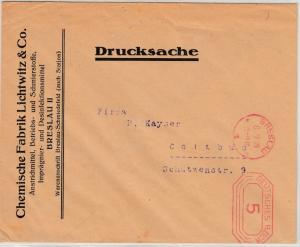 DR - 3 Pfg. Gebühren-FS, Drucksache Breslau - Cottbus 1928, ohne Inhalt