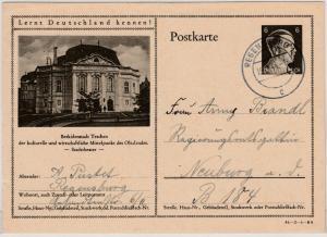 DR - 6 Pfg. AH Bild-GA-Karte (Beskidenstadt Teschen Stadttheater), Regensburg