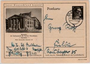 DR - 6 Pfg. AH Bild-GA-Karte (Kattowitz Opernhaus), Eilenburg - Fulda 1943
