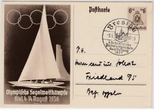 DR - 6. Schlesische PWZ-Ausstellung 1937, SST Breslau a. 6 Pfg. Olympia-GA-Karte