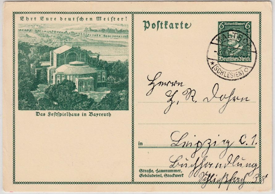 DR - 6 Pfg. Wagner-Festspiele Bayreuth, Sonder-GA-Karte, Maltsch - Leipzig 1934 0